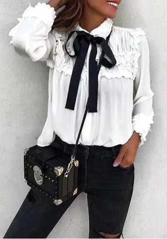 White Patchwork Ruffle Lace-up Long Sleeve Fashion Blouse