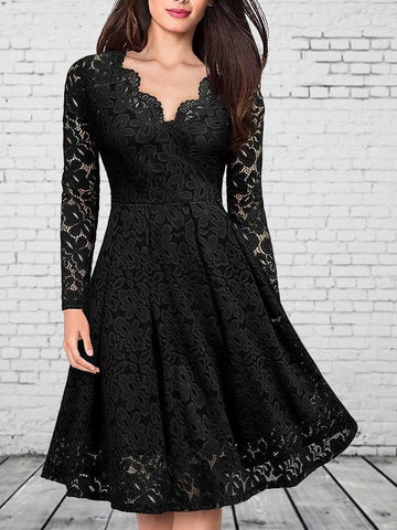 Black Patchwork Lace V-neck Party Midi Dress