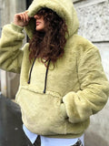 Yellow Pockets Drawstring Hooded Long Sleeve Oversize Casual Sweatshirt