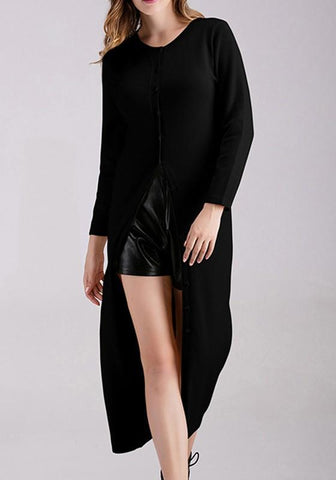 New Black Single Breasted Round Neck Long Sleeve Cardigan Sweater