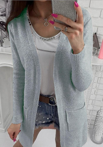 Grey Pockets V-neck No Button Long Sleeve Cardigan Sweater