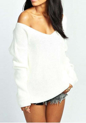 White Irregular Off Shoulder V-neck Long Sleeve Pullover Sweater