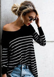 Black-White Striped Print Asymmetric Shoulder Round Neck Long Sleeve Casual T-Shirt