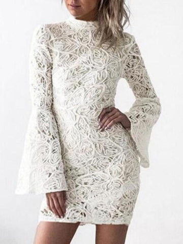 New White Floral Lace Flare Sleeve Bodycon Birthday Elegant Party Mini Dress