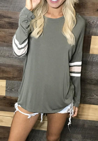 Green Striped Irregular Round Neck Long Sleeve T-Shirt