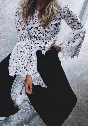 White Patchwork Lace Cut Out Round Neck Bell Sleeve Fashion Blouse