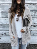 New Beige Plain Pockets Long Sleeve Going out Casual Cardigan Sweater