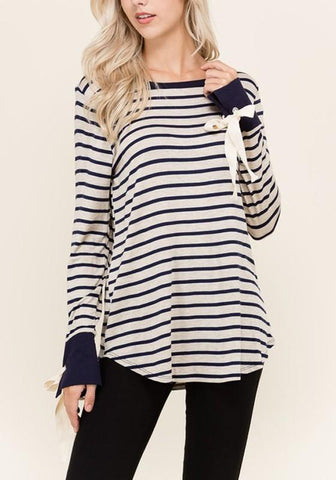 New Dark Blue Striped Print Bow Round Neck Long Sleeve T-Shirt