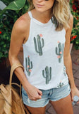 White Cactus Print Round Neck Casual Ctue Going out Vest