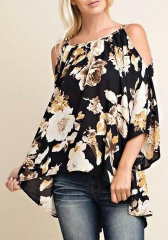 Multicolor Floral Print Irregular Long Sleeve Sweet Blouse