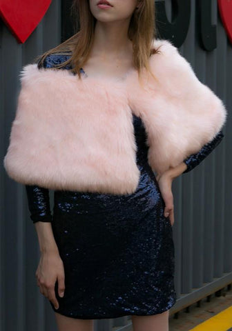 Light Pink Boat Neck Fashion Faux Fur Cape Coat