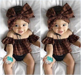 Newbabychic 3pcs Set Newborn Baby Girl Clothes Summer Off Shoulder Crop Tops+ Bottom+Headband Outfits Clothing Set