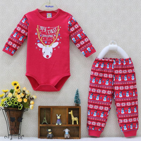 Newbabychic One Piece Bodysuits And Long Pants Clothing Set Christmas Newborn Clothes Boys 2 Pcs/Lot Spring Autumn Costume