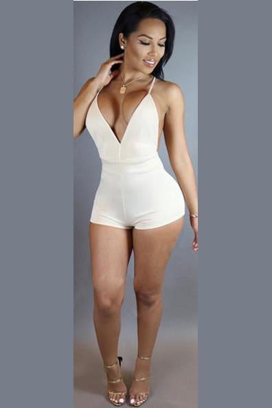 Pure Color Spaghetti Straps Sleeveless Short Backless Jumpsuit