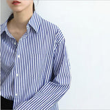 Blue And White Striped Print Turndown Collar Casual Cotton Blouse