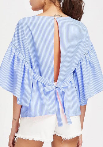 Blue Striped Print Buttons Lace-up Backless Sweet Going out Blouse