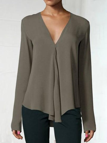 Onlinechoic Army Green Draped V-neck Long Sleeve Fashion Chiffon Blouse
