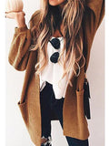 New Coffee Pockets Lantern Sleeve Casual Cardigan Knit Coat