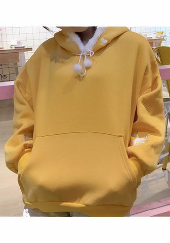 Yellow Drawstring Pockets Embroidery Hooded Long Sleeve Pullover Sweatshirt