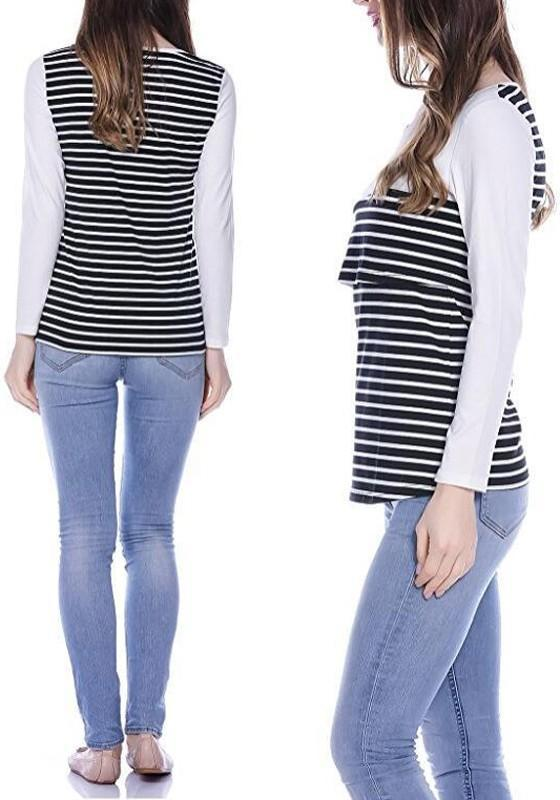 White Striped Breast-Feed Irregular Cut Out Round Neck Long Sleeve T-Shirt