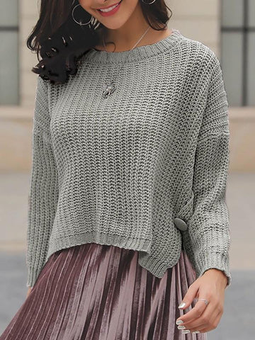 New Grey Buttons Slit High-low Round Neck Long Sleeve Pullover Sweater