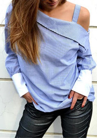 Blue Striped Asymmetric Shoulder Buttons Long Sleeve Fashion Blouse