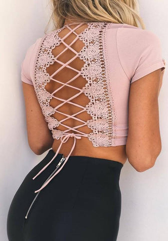 Pink Patchwork Lace Hollow-out Crop Tie Back Open Back T-Shirt