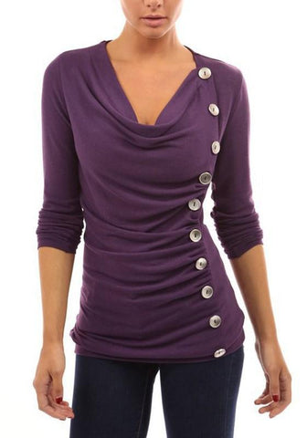 Purple Single Breasted Cascading Ruffle Round Neck Casual T-Shirt