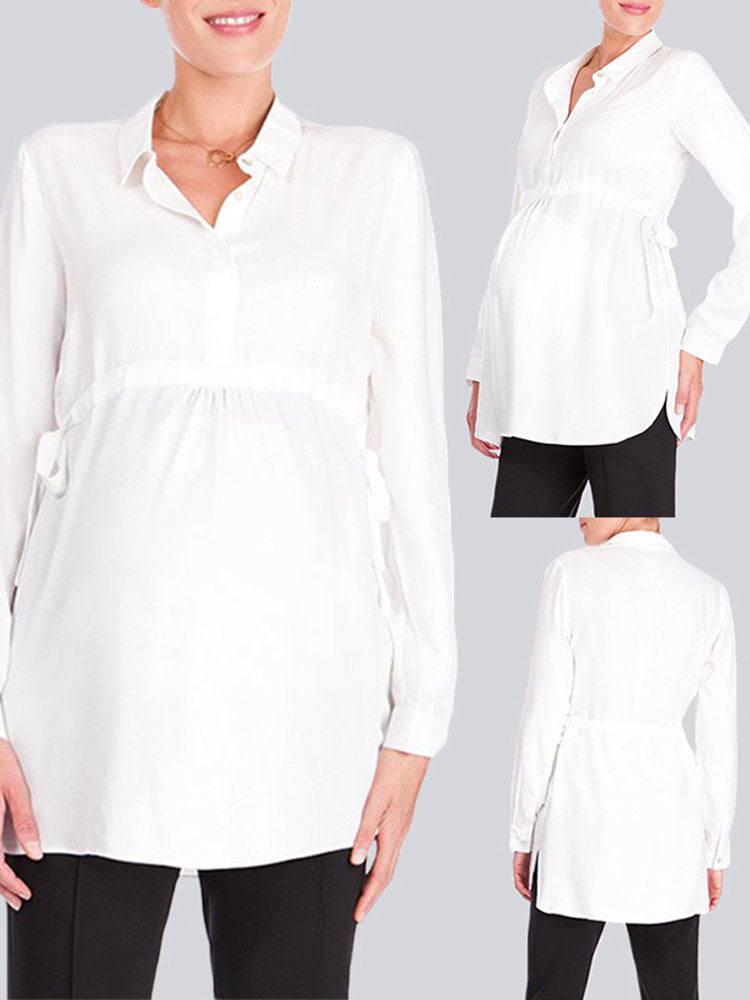 Newbabychic Turn-Down Collar Long Sleeve Adjustable Drawstring Maternity Blouse