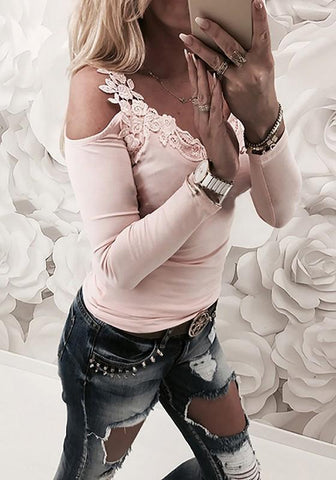 Pink Patchwork Lace Round Neck Long Sleeve Fashion T-Shirt