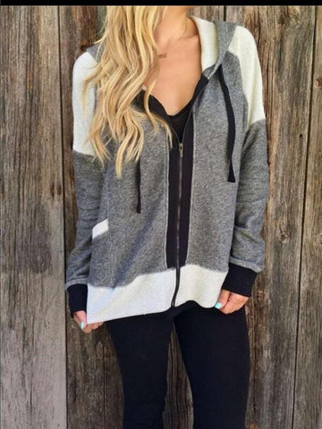 Grey Pockets Long Sleeve Going out Outerwear