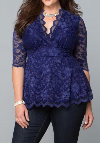 Royal Blue Flowers Print Lace Draped V-neck Elbow Sleeve Peplum Plus Size Blouse