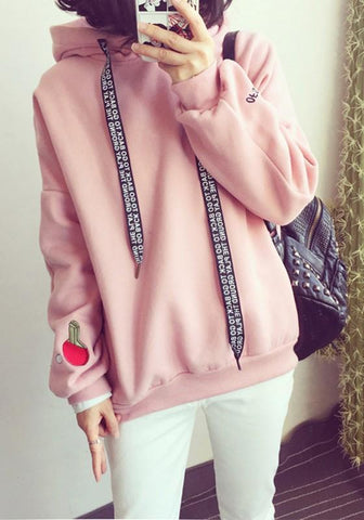 New Pink Patchwork Embroidery Drawstring Hooded Long Sleeve Casual Pullover Sweatshirt