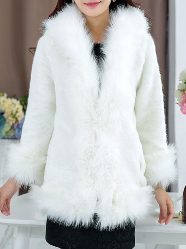 New White Faux Fur Pockets Hooded Long Sleeve Oversize Coat