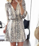 Grey Buttons Deep V-neck Elbow Sleeve Casual Midi Dress