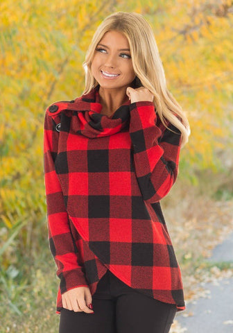Red Plaid Buttons Irregular Checkered Cowl Neck Casual Blouse