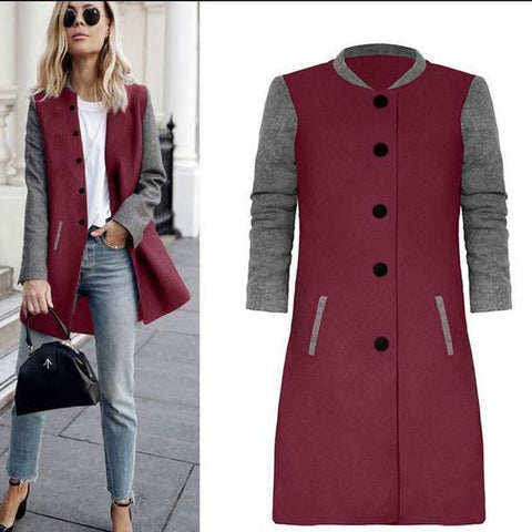 Patchwork Print Round Neck Single Breasted Casual Coat