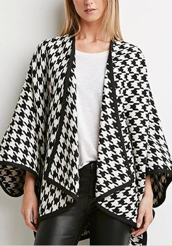 Black-White Plaid Irregular High-Low Batwing Sleeve Casual Cardigan Coat