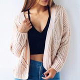 Pink Wavy Edge Long Sleeve Casual Cotton Cardigan Sweater