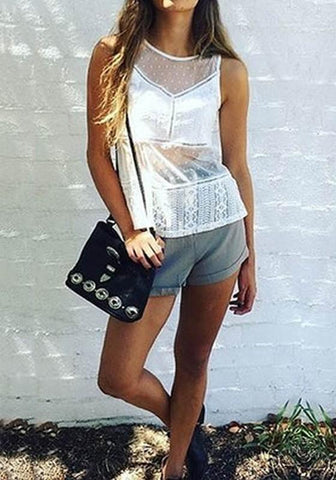 White Patchwork Lace Grenadine Round Neck Loose Vest