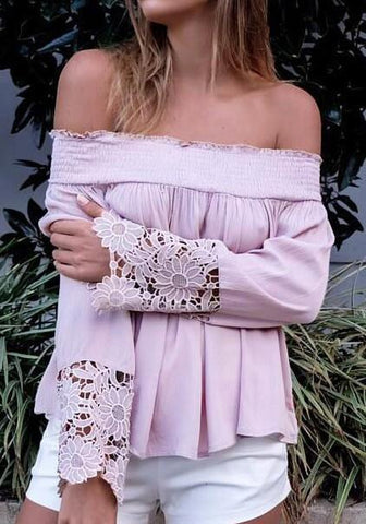 Light Purple Patchwork Ruffle Lace Bandeau Backless Off Shoulder Blouse