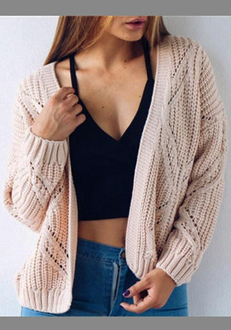 Pink V-neck Long Sleeve Cute Cardigan Sweater