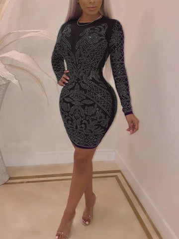 New Black Patchwork Rhinestone Bodycon Long Sleeve Round Neck Sparkly Glitter Birthday Party Mini Dress