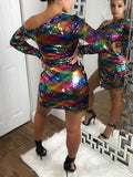 Red Rainbow Patchwork Sequin One Off Shoulder Side Slits Long Sleeve Sparkly Glitter Birthday Party Mini Dress