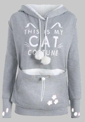"Light Grey ""THIS IS MY CAT"" Print Pockets Dog Carrier Hoodie Pullover Sweatshirt"