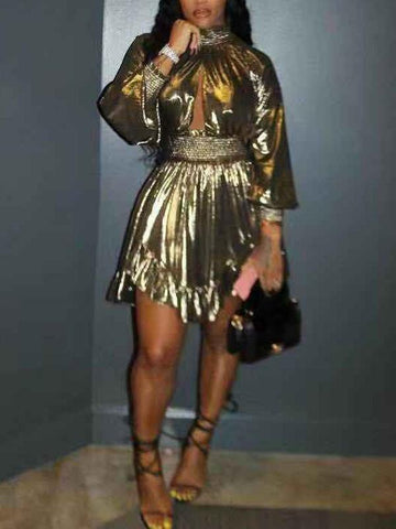 New Golden Pleated Cut Out Irregular Long Sleeve Cute Homecoming Party Mini Dress