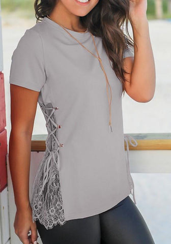 Grey Patchwork Lace Drawstring Round Neck Short Sleeve Casual T-Shirt
