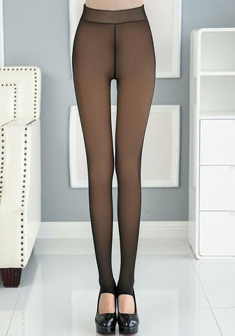 Black Plain Elastic Waist Casual Nylon Long Leggings