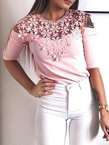 Onlinechoic Pink Patchwork Lace Cut Out Round Neck Sweet Blouse