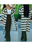 Dark Green-White Striped Print Long Sleeve Deep V-neck Casual Cardigan Coat